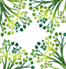 nature background with tree branches and green leaves