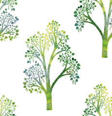 nature seamless pattern with birch tree branches and green leaves