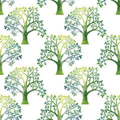 nature seamless pattern with tree branches and green leaves