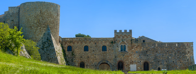 chart of the Bovino Castle, province of Foggia, seen with low angle to the level lawn in front