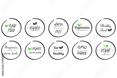 Vector Set Of Icons Of Organic Healthy Vegan Vegetarian Raw Gmo