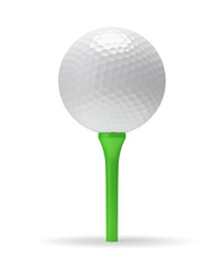 Golf ball on the green tee