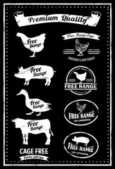 Free Range Meat Stamp, vector