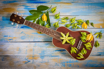 Ylang-ylang flower and leaf with ukulele on color wooden background