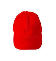 Red baseball cap isolated on white background