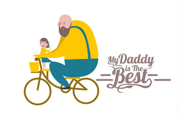 My daddy is the Best. Happy father's day. flat design vector