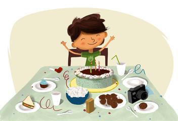 Cumpleaños de un niño. Dibujo para una postal o felicitación de cumpleaños