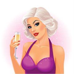 Vector illustration. Beautiful young blonde lady in lilac sparkling dress, holds a glass of champagne.