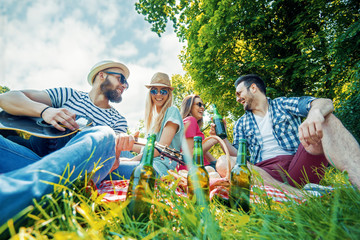 Group of friends having picnic in the park Wall mural