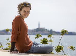 Portrait junge Frau in Rovinj, Kroatien