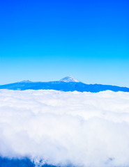 Volcano Teide in the clouds.