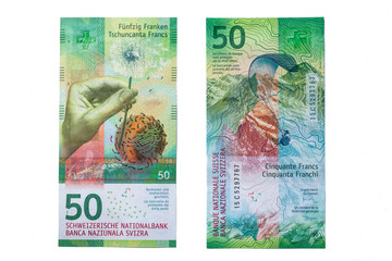 Close up view of new fifty Swiss Franc 2016