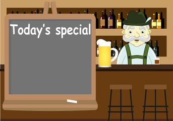 Beer pub with counter, bar chairs, mustached bartender and todays special blackboard