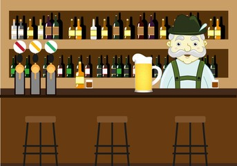 Beer pub with counter, bar chairs and mustached bartender