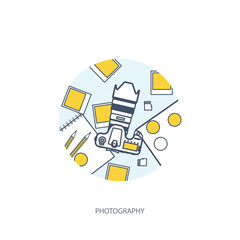 Photographer equipment on a table. Photography tools, photo editing, photoshooting flat background. Digital photocamera with lens. Vector illustration. Wood. Wooden. Lined, outline.