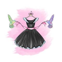 Fashion Illustration - Little black dress in watercolor
