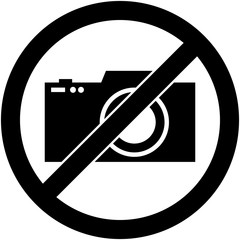 No photography, camera prohibited symbol. Sign indicating the prohibition or rule. Warning and forbidden. Flat design. Vector illustration. Easy to use and edit. EPS10.