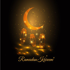 lantern and crescent moon of Ramadan- Ramadan Kareem beautiful greeting card . background with arabic calligraphy which means ''Ramadan kareem '' for muslim community to celebrate the month of fasting