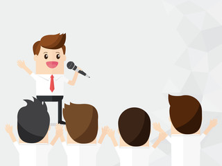 inspire your team. happy businessman hold microphone for cheer, vote, canvass colleagues business people, team, employee with copy space