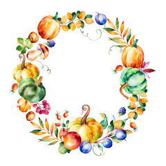 Colorful autumn wreath with fall leaves, branches, berry, blackberry, mushroom, pumpkins, walnut, prunes, pomegranant and more.Autumn harvest wreath for your unique design, graphic projects
