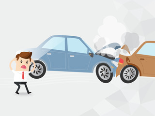 businessman driver shocked auto accident two cars, businessman driver no brake cars crashed. car broke down with smoke. insurance, car rent, loan, copy space