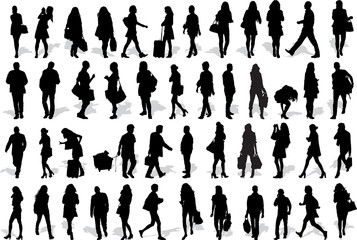 Set of 47 vector's silhouettes of people in action