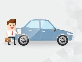 businessman or salesman hold briefcase and clipboard with new car. insurance, car rent, loan, advertisement, car wash. copy space