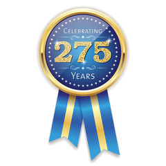 Blue celebrating 275 years badge, rosette with gold border and ribbon