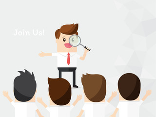 businessman look through magnifying with choose person for join company or team. headhunter, human and recruitment. finding best employee for promote. check, audit, monitoring