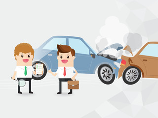 after car accident, businessman thumb up and auto insurance staff with checklist clipboard. take care of yourself and others and save even more on your auto insurance with premium services. copy space