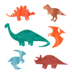 Watercolor dinosaurs set. Colorful silhouettes of dinosaurs isolated on white background. Vector illustration.