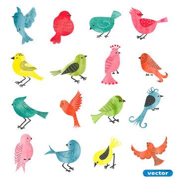 Watercolor birds set. Collection of cute cartoon birds. Vector illustration.