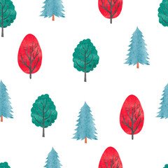Watercolor trees seamless pattern. Vector background with abstract trees. Cartoon forest.