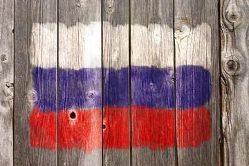 Wall Mural - russische farben auf alter bretterwand