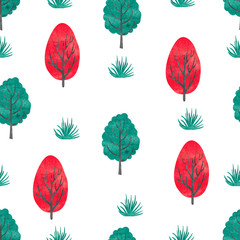 Watercolor trees seamless pattern. Cartoon abstract forest. Vector background with trees isolated on white.