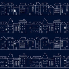 Doodle houses seamless pattern. Sketchy cityscape. Vector background of night city.