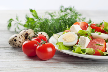 Salad with cherry tomato and eggs