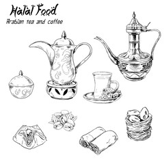 Arabian halal food set tea coffee cake