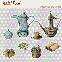Arabian halal food set tea coffee cake seamless texture