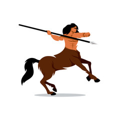 Vector Centaur Warrior Cartoon Illustration.