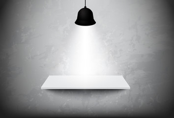 Empty white shelf hanging on the concrete wall with light ceiling lamp,vector design