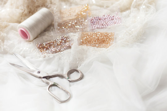Equipment for sewing elegant wedding dress
