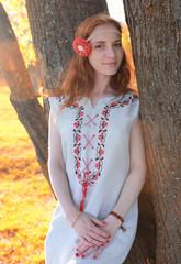 Girl hippie in autumn