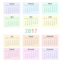 Calendar 2017 starting from sunday