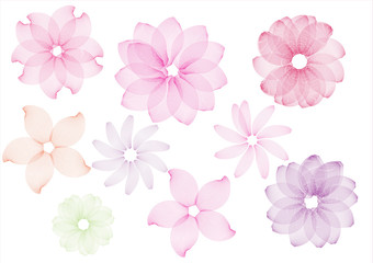 Set of abstract flowers  pink color flower