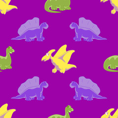 Seamless background. Funny dinosaurs
