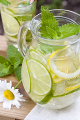 Cold fresh lemonade with lemon, lime and mint