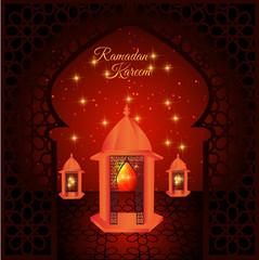 Ramadan kareem with islamic background (translation Generous Ramadan),Beautiful glowing lantern , ramadan is a holy fasting month for Muslim