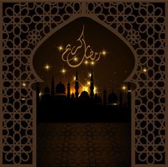 "Window ""Ramadan Kareem"" (Generous Ramadan) card in vector format."