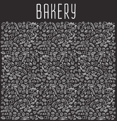 Hand drawn bakery seamless logo background.